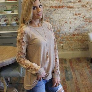 Toupe crochet sleeve-knit tunic NWOT